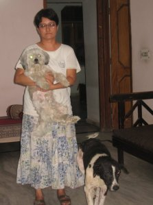 Urvashi with Standlie-the Lhasa apso (in her arms) and Minni- the blind street dog (by her side)