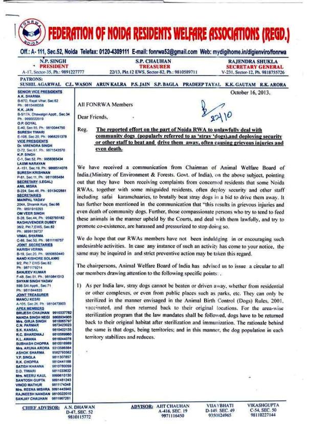 Noida Federation instructions to RWAs regarding street dogs_Page 1 of the letter