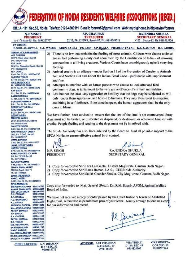 Noida Federation instructions to RWAs regarding street dogs_Page 2 of the Letter