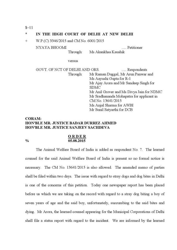 5th August 2015_Delhi HC Order on a Street Dog Petition_Page 1