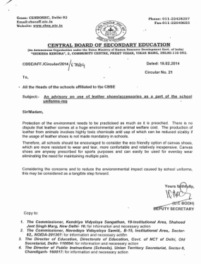 Circular no.21_issued by CBSE in Year 2014_Advisory favouring non-leather shoes in school uniform_1